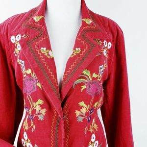 Christopher & Banks Red Embroidered Blazer Size L